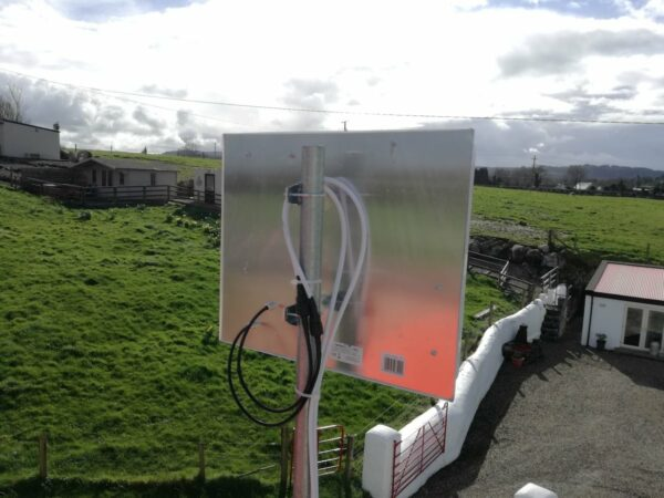A Cellnet antenna mounted on a location in Corofin, with a view of the surrounding countryside.