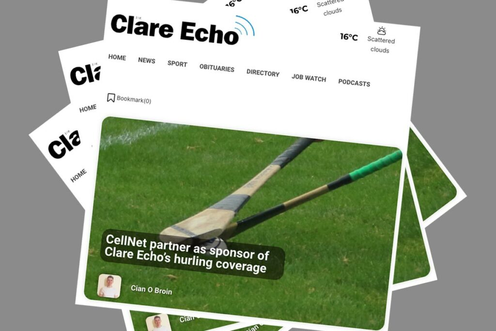 Front page of the Clare Echo website reports Cellnet sponsors hurling for 2021